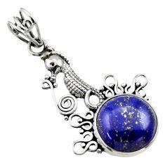 Clearance Sale- 9.05cts natural blue lapis lazuli round 925 silver seahorse pendant d33527