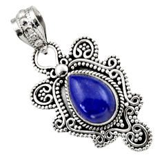 Clearance Sale- 4.74cts natural blue lapis lazuli 925 sterling silver pendant jewelry d33531