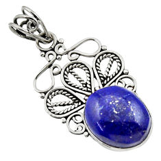 9.56cts natural blue lapis lazuli 925 sterling silver pendant jewelry d33535