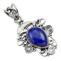 925 silver 6.26cts natural blue lapis lazuli pear shape dolphin pendant d33537