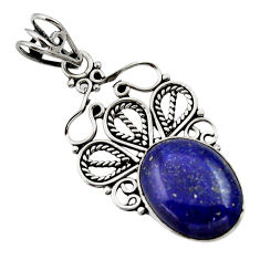 Clearance Sale- 10.02cts natural blue lapis lazuli 925 sterling silver pendant jewelry d33539