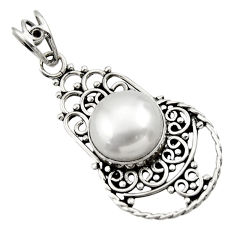 Clearance Sale- 925 sterling silver 6.84cts natural white pearl round pendant jewelry d33544