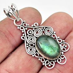 6.31cts natural blue labradorite 925 sterling silver pendant jewelry d33556