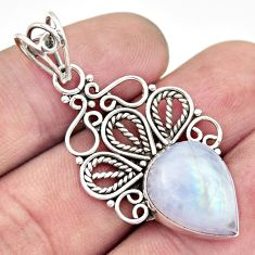 9.99cts natural rainbow moonstone 925 sterling silver pendant jewelry d33559