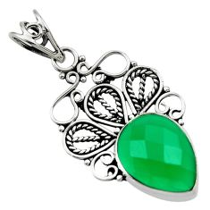 Clearance Sale- 925 sterling silver 9.18cts natural green chalcedony pear pendant jewelry d33564