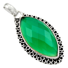 13.15cts natural green chalcedony 925 sterling silver pendant jewelry d33567