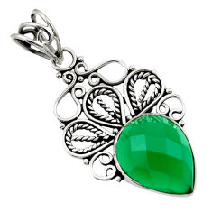 Clearance Sale- 10.02cts natural green chalcedony 925 sterling silver pendant jewelry d33570