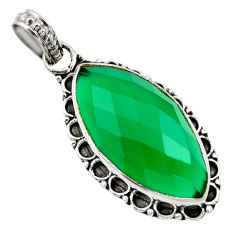 14.23cts natural green chalcedony 925 sterling silver pendant jewelry d33571