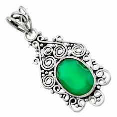Clearance Sale- 6.03cts natural green chalcedony 925 sterling silver pendant jewelry d33577