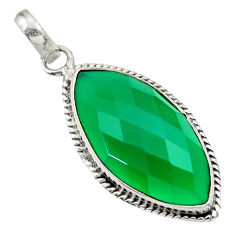 Clearance Sale- 925 sterling silver 13.70cts natural green chalcedony pendant jewelry d33578