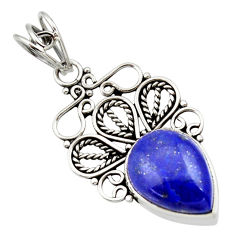 10.02cts natural blue lapis lazuli 925 sterling silver pendant jewelry d33582