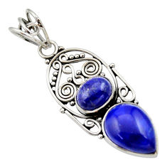 7.49cts natural blue lapis lazuli 925 sterling silver pendant jewelry d33583
