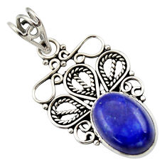 Clearance Sale- 925 sterling silver 6.39cts natural blue lapis lazuli pendant jewelry d33584