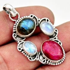 11.07cts natural red ruby labradorite 925 sterling silver pendant jewelry d33596