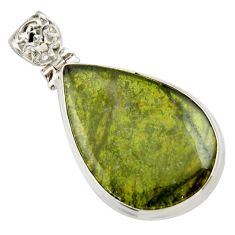 Clearance Sale- 25.00cts natural green vasonite 925 sterling silver pendant jewelry d33601