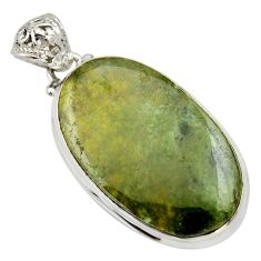 Clearance Sale- 925 sterling silver 27.08cts natural green vasonite oval pendant jewelry d33603