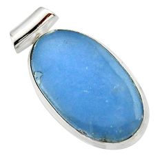 Clearance Sale- 17.22cts natural blue angelite 925 sterling silver pendant jewelry d33619