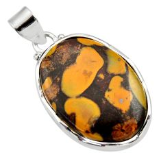 Clearance Sale- 20.88cts natural brown bamboo leaf jasper 925 sterling silver pendant d33629