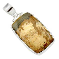 Clearance Sale- 17.57cts natural brown cotham landscape marble 925 silver pendant d33633