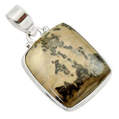 Clearance Sale- 16.73cts natural brown cotham landscape marble 925 silver pendant d33634
