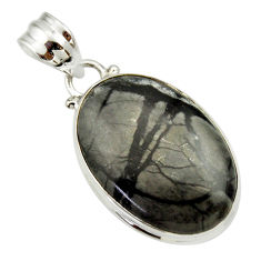 Clearance Sale- 16.18cts natural black picasso jasper 925 sterling silver pendant jewelry d33638