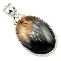 Clearance Sale- 19.72cts natural black picasso jasper 925 sterling silver pendant jewelry d33640