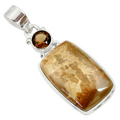 925 silver 15.08cts natural brown cotham landscape marble pendant d33644