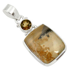 Clearance Sale- 16.18cts natural brown cotham landscape marble 925 silver pendant d33645