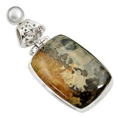 20.88cts natural brown cotham landscape marble pearl 925 silver pendant d33646