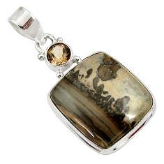 Clearance Sale- 925 silver 19.23cts natural brown cotham landscape marble pendant d33647