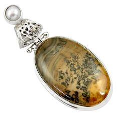 Clearance Sale- 18.68cts natural brown cotham landscape marble pearl 925 silver pendant d33648