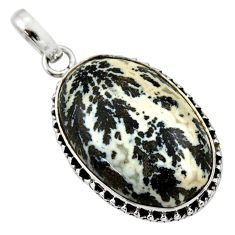 16.73cts natural black feather medicine bow agate 925 silver pendant d33651