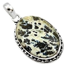 13.70cts natural black feather medicine bow agate 925 silver pendant d33653