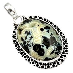 15.65cts natural black feather medicine bow agate 925 silver pendant d33656