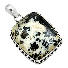 925 silver 18.15cts natural black feather medicine bow agate pendant d33659