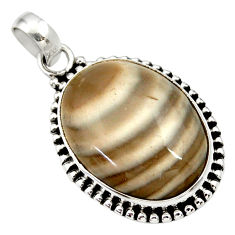 17.57cts natural grey striped flint ohio oval 925 sterling silver pendant d33661