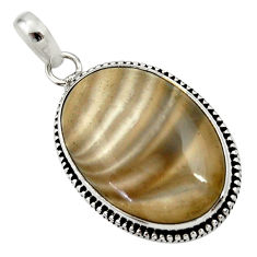 Clearance Sale- 18.70cts natural grey striped flint ohio 925 sterling silver pendant d33663