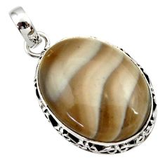 Clearance Sale- 925 sterling silver 17.57cts natural grey striped flint ohio oval pendant d33664