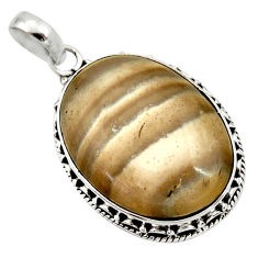 Clearance Sale- 16.73cts natural grey striped flint ohio 925 sterling silver pendant d33665
