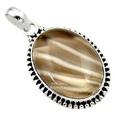 Clearance Sale- 19.20cts natural grey striped flint ohio 925 sterling silver pendant d33666