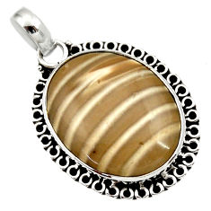 925 sterling silver 15.70cts natural grey striped flint ohio pendant d33667