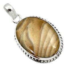 16.70cts natural grey striped flint ohio 925 sterling silver pendant d33668