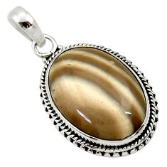 Clearance Sale- 18.68cts natural grey striped flint ohio 925 sterling silver pendant d33669