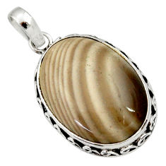 Clearance Sale- 15.65cts natural grey striped flint ohio 925 sterling silver pendant d33672