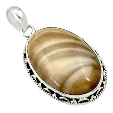 20.85cts natural grey striped flint ohio 925 sterling silver pendant d33674