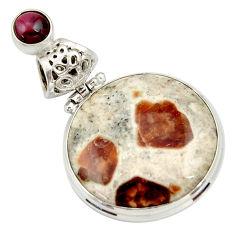 925 silver 24.35cts natural garnet in limestone spessartine pendant d33680