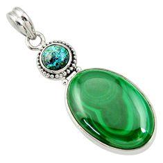 22.59cts natural green malachite (pilot's stone) 925 silver pendant d33681