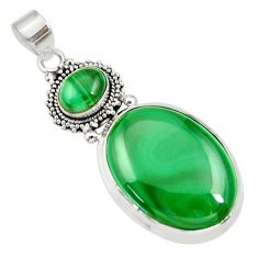 Clearance Sale- 31.54cts natural green malachite (pilot's stone) 925 silver pendant d33682