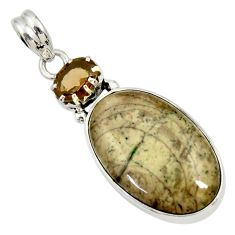 Clearance Sale- 16.20cts natural brown cotham landscape marble 925 silver pendant d33684
