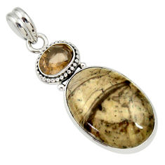 Clearance Sale- 925 silver 16.20cts natural brown cotham landscape marble oval pendant d33686